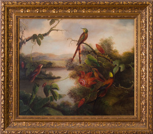 EUROPEAN SCHOOL: PASSION FLOWERS AND HUMMINGBIRDS IN A LANDSCAPE