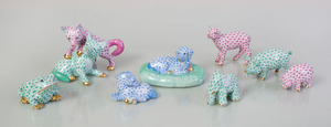 EIGHT HEREND PORCELAIN MODELS OF ANIMALS