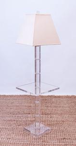 LUCITE FLOOR LAMP TABLE