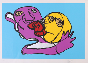 Karel Appel (1921-2006): Sky Blue Kiss; Silvered Kiss; and Putting Green Kiss