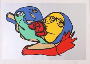 Karel Appel (1921-2006): Sky Blue Kiss; Silvered Kiss; and Putting Green Kiss