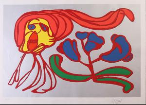 Karel Appel (1921-2006): Silver Floating Flower Passion; and Somber Floating Flower