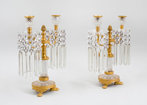 PAIR OF REGENCY CUT-GLASS AND GILT-BRONZE TWO-LIGHT CANDELABRA