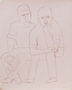 AFTER BEN SHAHN (1898-1969): TWO SEATED MEN