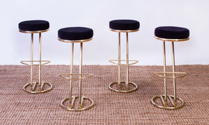 SET OF FOUR BRASS FINISH METAL AND VELOUR BAR STOOLS