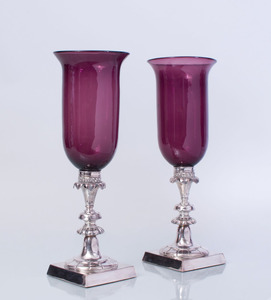 PAIR OF GEORGE IV STYLE SILVERED-METAL AND AMETHYST GLASS PHOTOPHORES