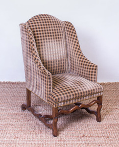 LOUIS XIV STYLE WALNUT WING ARMCHAIR