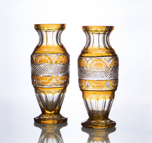 PAIR OF AUSTRIAN AMBER-CASED CUT-GLASS BALUSTER-FORM VASES