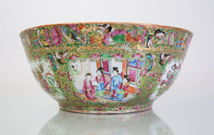 CHINESE EXPORT ROSE MEDALLION PORCELAIN PUNCH BOWL