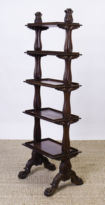 VICTORIAN MAHOGANY FIVE-TIERED LIBRARY STAND