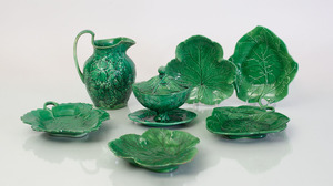 GROUP OF ENGLISH GREEN GLAZED MAJOLICA WARE