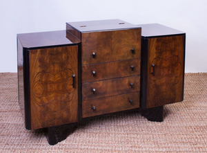 ART DECO STYLE BLACK WALNUT AND LACQUER BAR CABINET
