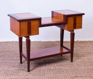 CHERRY AND PAINTED WOOD CONSOLE TABLE