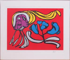 KAREL APPEL (1921-2006): FLOATING RED FLOWER; AND FLOATING GREEN FLOWER