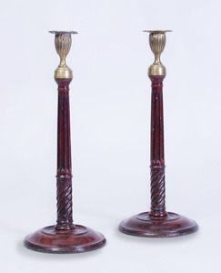 PAIR OF VICTORIAN BRASS-MOUNTED-MAHOGANY CANDLESTICKS