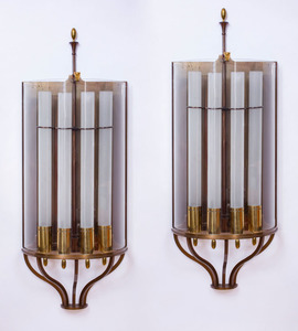 PAIR OF FRENCH ART DECO CHROME, GLASS AND BRASS FOUR-LIGHT WALL SCONCES