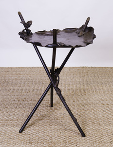 CONTINENTAL BRONZE AND PARCEL-GILT TRIPOD STAND