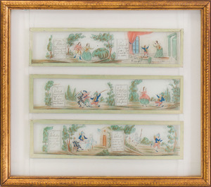 SET OF EIGHT FRENCH REVERSE-PRINTED AND ENRICHED MAGIC LANTERN SLIDES WITH SCENES OF PULCINELLA, FROM THE COMMEDIA DELL'ARTE