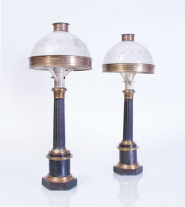 PAIR OF FRENCH TÔLE, BRASS AND FROSTED GLASS COLUMN-FORM SUNUMBRA FLUID LAMPS