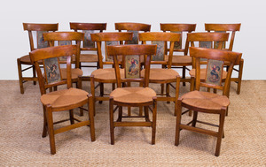 SET OF TWELVE ITALIAN NEOCLASSICAL FRUITWOOD AND PAINTED SIDE CHAIRS