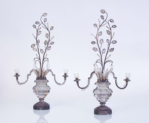 PAIR OF LOUIS XVI STYLE GLASS AND WROUGHT-IRON THREE-LIGHT CANDELABRA