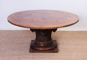 BAROQUE STYLE OAK PARQUETRY-TOP PEDESTAL TABLE