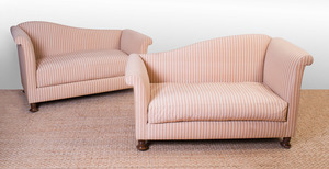 PAIR OF VICTORIAN STYLE UPHOLSTERED LOVE SEATS