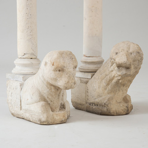 TWO SIMILAR LATE MEDIEVAL LIMESTONE LION-FORM CORBELS AND CAPITALS