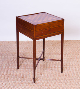 REGENCY FRUITWOOD AND MAHOGANY PARQUETRY GAMES TABLE
