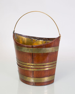 GEORGE III BRASS-MOUNTED-MAHOGANY NAVETTE-FORM PEAT BUCKET