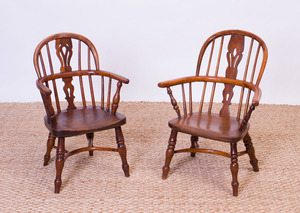 TWO CHILD'S ELM WINDSOR CHAIRS