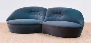 PAIR OF BUTTONED AQUA MOHAIR-UPHOLSTERED LOVE SEATS