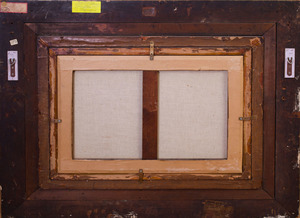 ART DECO STYLE PAINTED LEATHER THREE-FOLD SCREEN