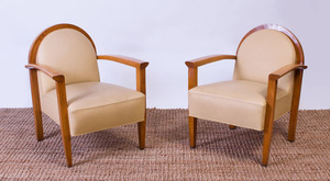 PAIR OF ART DECO ELM ARMCHAIRS