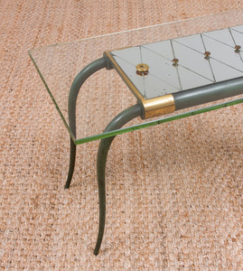 ART DECO GLASS AND MIRROR-TOP VERDIGRIS BRONZE LOW TABLE