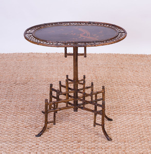 EDWARDIAN LACQUER AND BAMBOO PEDESTAL TABLE