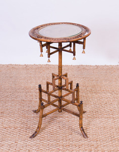 EDWARDIAN BAMBOO AND PARCEL-GILT PEDESTAL TABLE