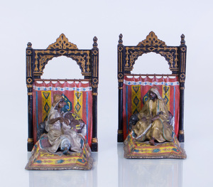 PAIR OF AUSTRIAN COLD-PAINTED-METAL FIGURAL BOOKENDS