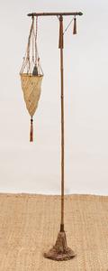 FORTUNY FOR VENETIA STUDIUM BRASS AND SILK 'CESENDELLO' FLOOR LAMP