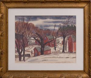 AUSTIN MECKLEM (1894-1951): WINTER BARN SCENE
