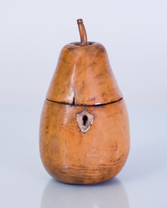 GEORGE III FRUITWOOD PEAR-FORM TEA CADDY