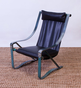 MAKAY CRAFT GREEN-ENAMELED AND CHROME SLING ARMCHAIR