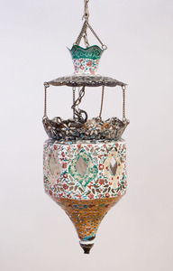 PERSIAN ENAMEL PIERCED-METAL MOSQUE LAMP