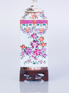 CHINESE FAMILLE-ROSE PORCELAIN FACETED JAR MOUNTED AS LAMP