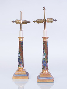 PAIR OF BEADWORK AND GILTWOOD COLUMN-FORM LAMPS