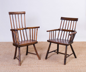 TWO ELM WINDSOR ARMCHAIRS
