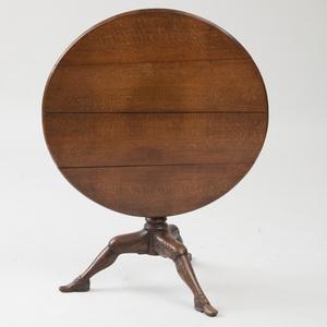 GEORGE II CARVED OAK TILT-TOP ISLE OF MAN TRIPOD TABLE