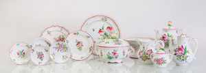 ASSEMBLED ENGLISH AND FRENCH PAINTED AND TRANSFER-PRINTED POTTERY PART SERVICE
