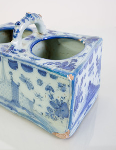 DELFT BLUE AND WHITE POTTERY PLANTER