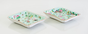 PAIR OF CHINESE TURQUOISE-GROUND FAMILLE ROSE PORCELAIN RECTANGULAR DISHES